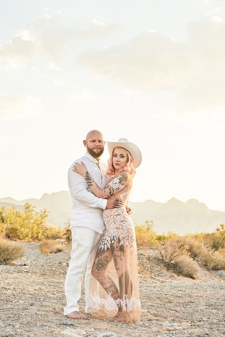 Cowboy Hat Barefoot Tattoos Sheer Dress Lace Pink Hair Hip Elvis Las Vegas Destination Wedding Http
