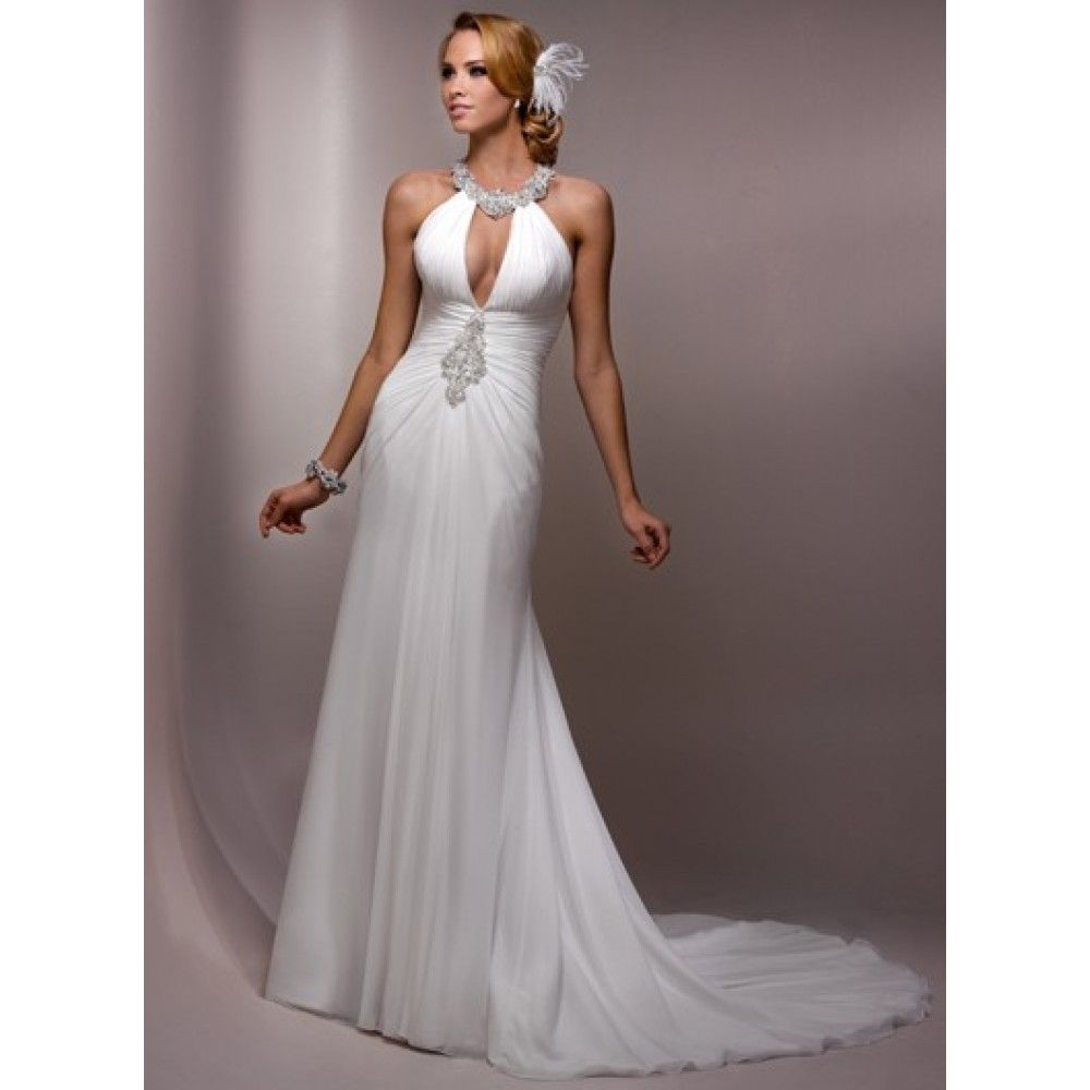 Sheath Halter Top Ruched Beading Crystal Chiffon Floor Length White Wedding Dress