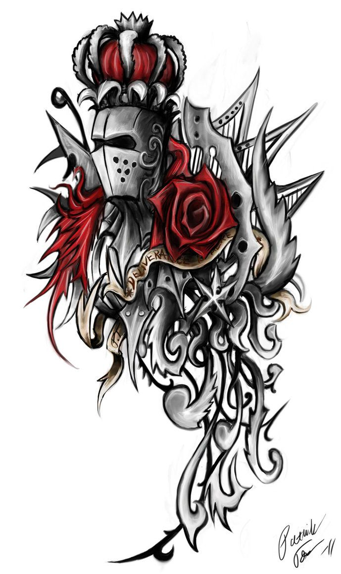 Rose Knight Ornament Tattoo By Patrike On Deviantart Knight Tattoo Tribal Rose Tattoos Rose Tattoo Design