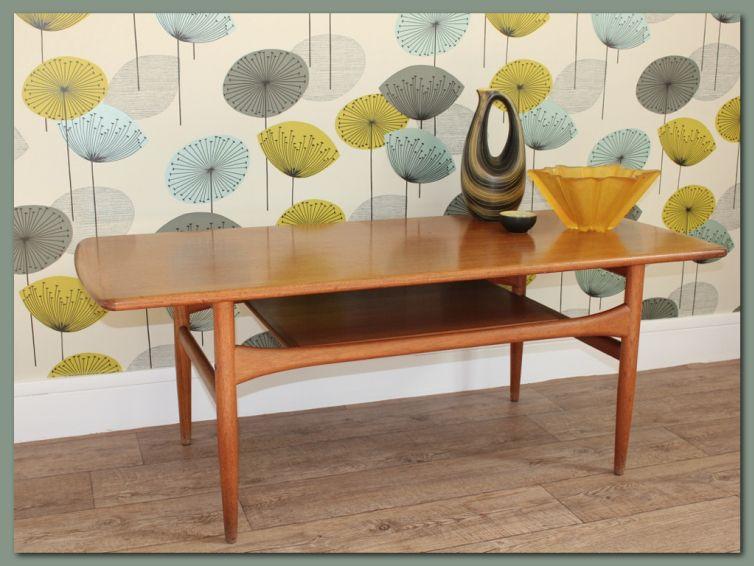 table basse scandinave vintage en teck table basse. Black Bedroom Furniture Sets. Home Design Ideas