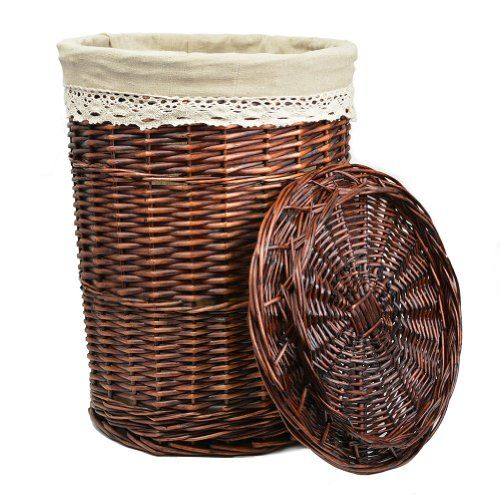 Rurality Round Wicker Laundry Basket With Lid And Linen Liner Large Brown Rurality Http Www Amazon Com D Wicker