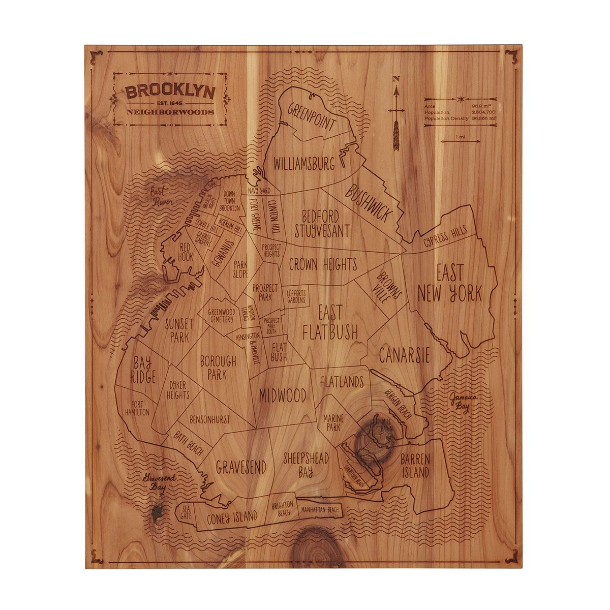 NEIGHBORWOODS | Laser Etched Cedar Wood Geography Wall Art | UncommonGoods