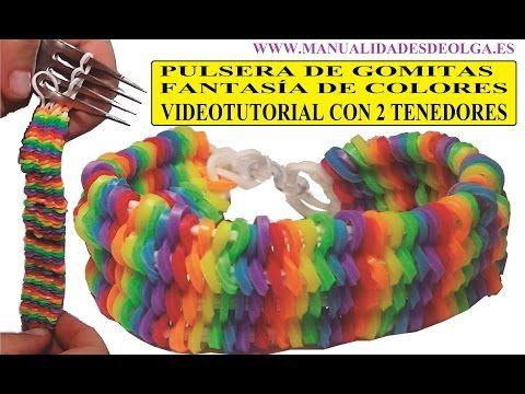 COMO HACER PULSERA DE GOMITAS FANTASA DE COLORES CON 2 TENEDORES