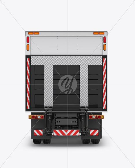 Download Box Truck Mockup - Back View in Vehicle Mockups on Yellow ...