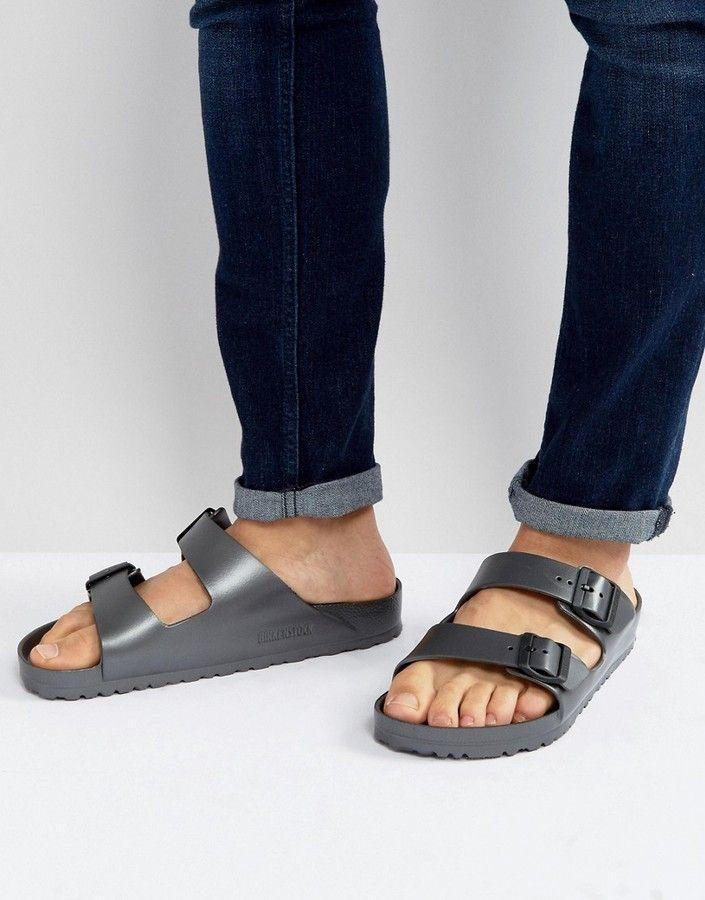 Mens leather sandals, Metallic sandals