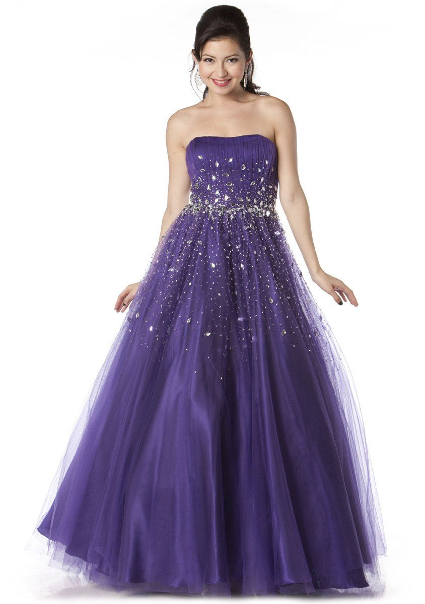 aa2c2e384d Long Puffy Purple Formal Dress A Line Sparkling Jewel Strapless  267.99