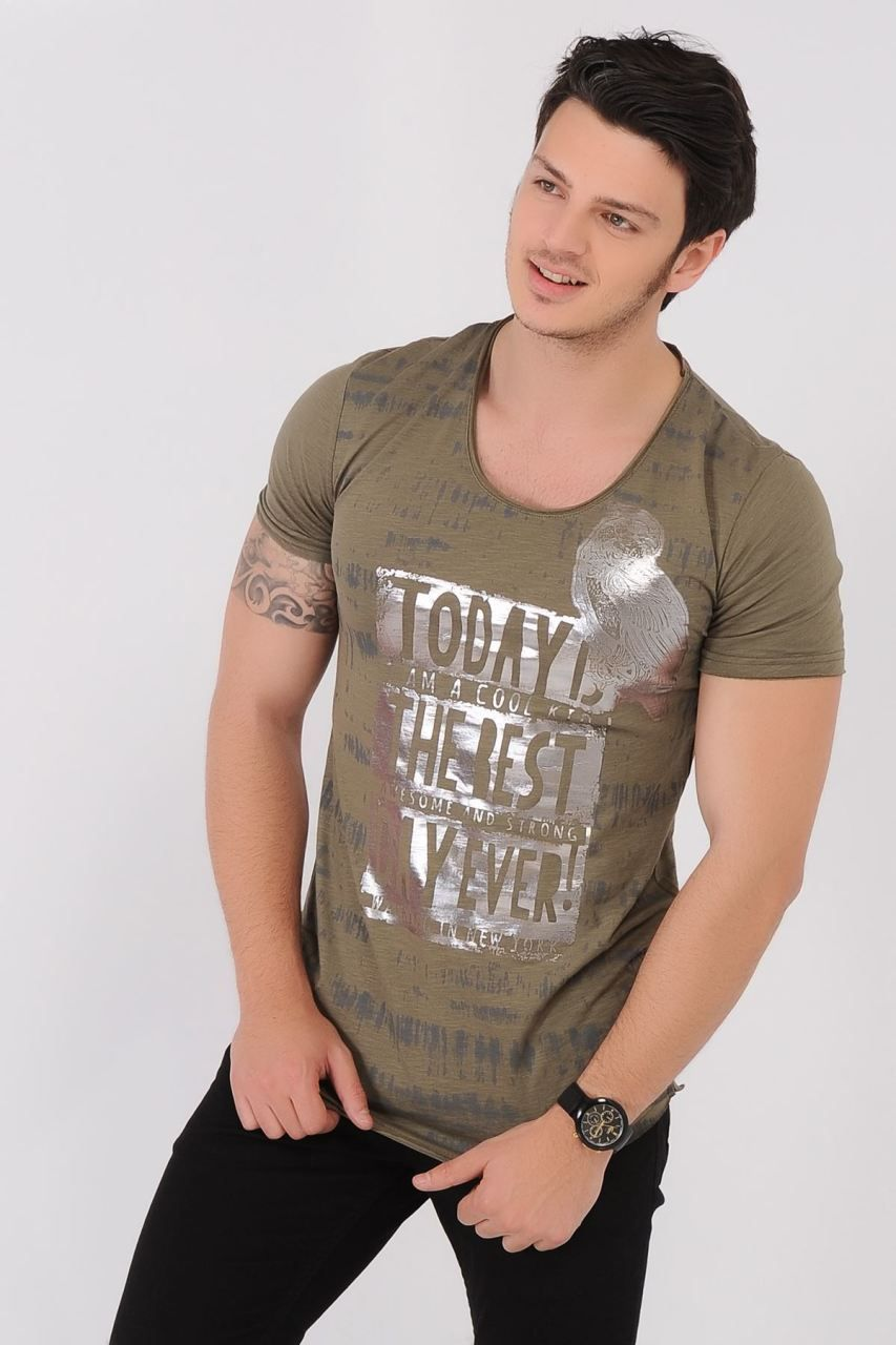Todays Baskili Haki T Shirt Giyim Indirim Kampanya Bayan Erkek Bluz Gomlek Trenckot Hirka Etek Yelek Mont Kase Kaban Erkek Tisort Moda Trenckot
