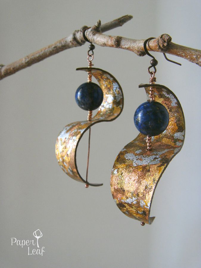 Blue Galaxy handmade paper earrings paper faux gold leaf