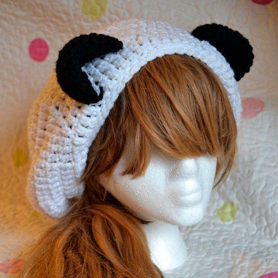 Slouchy Panda Eared Crochet Hat Crochet Panda Bear Beanie Hat Panda ...