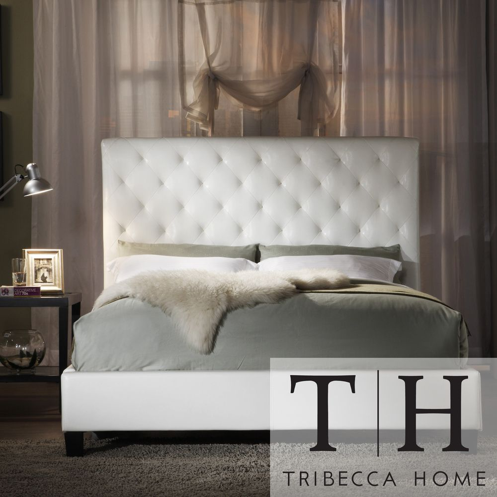 TRIBECCA HOME Sophie White Vinyl Tufted King-size Bed