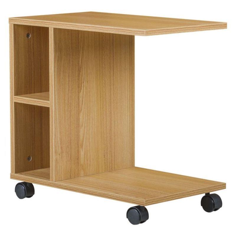 Porter Chipboard Side Coffee Table W Wheels Maple Side Coffee Table Coffee Table Space Saving Table