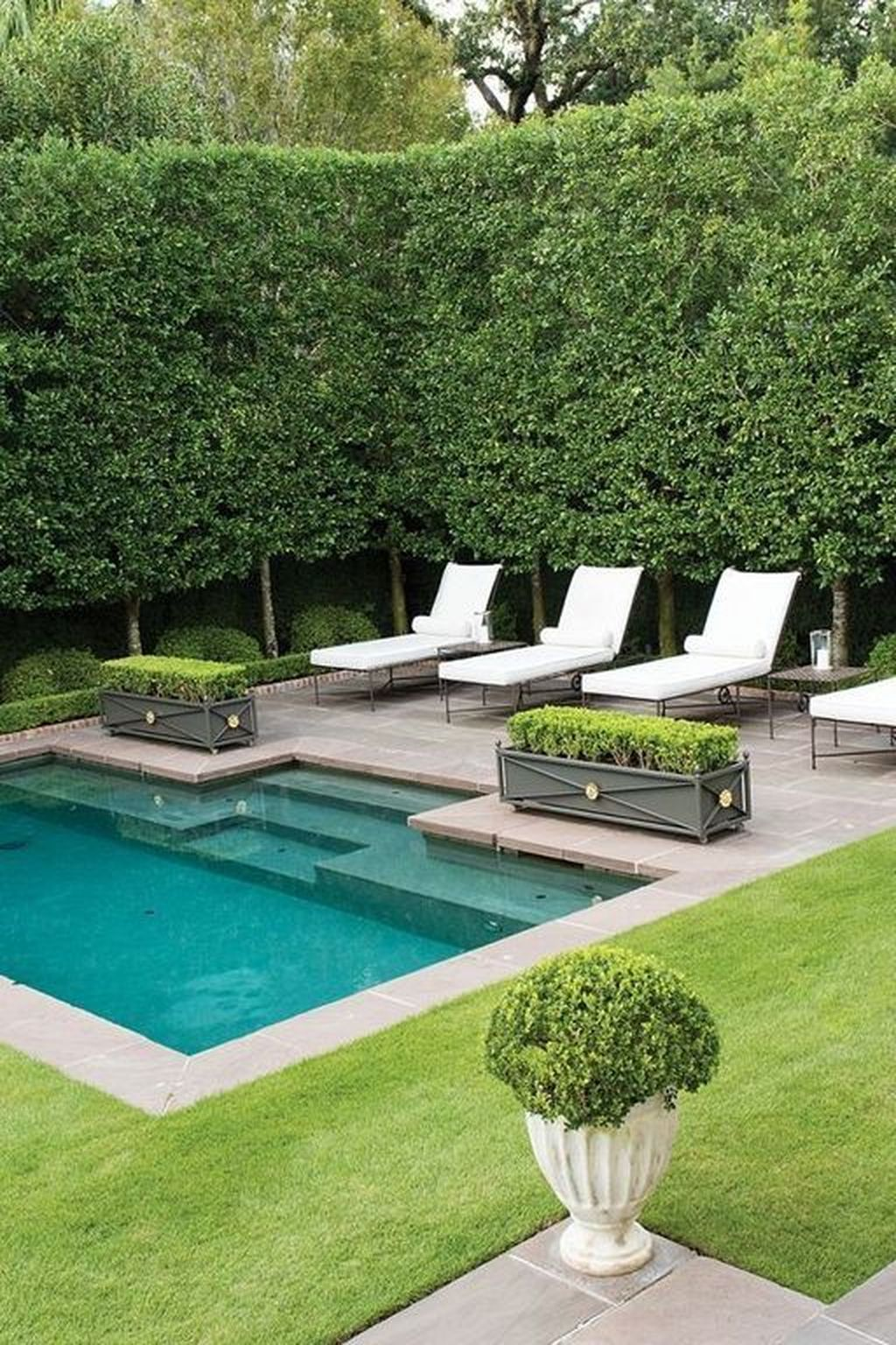 45 Landscaping Ideas For Backyard Swimming Pools In 2020 Pool Patio Furniture Small Backyard Design Swimming Pools Backyard