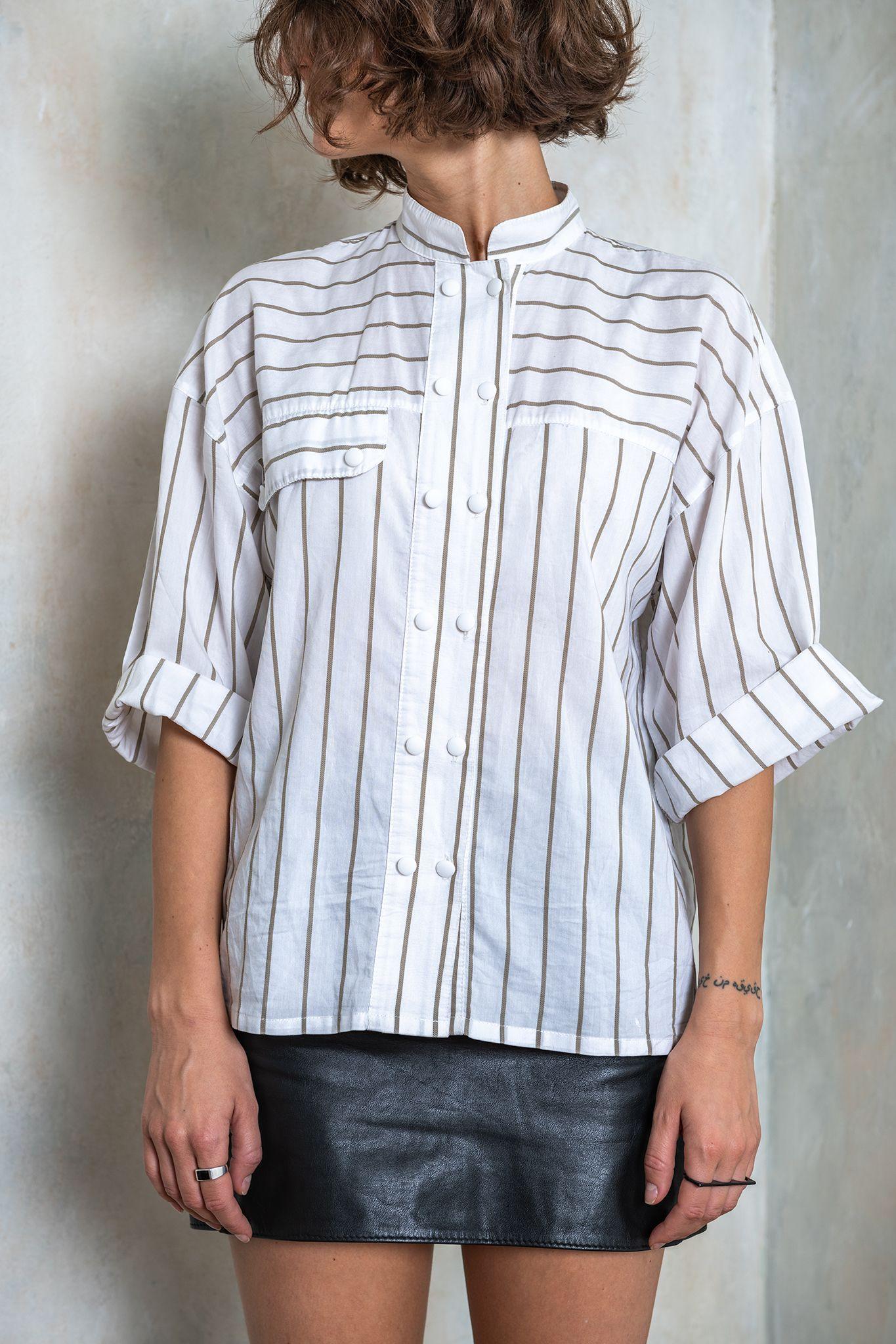Women vintage blue striped top Short sleeve blouse Women/'s vintage clothing Vintage wear