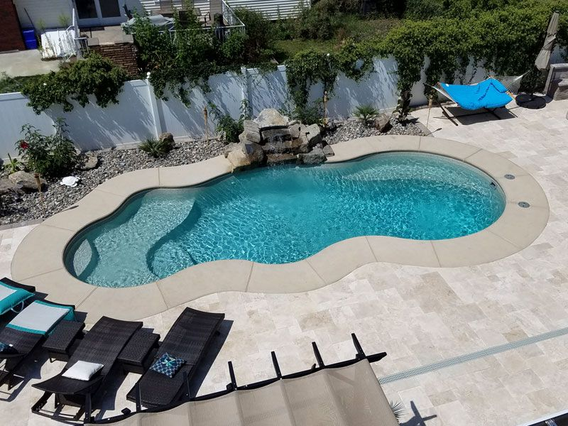 Viking Pools Fiji Large Modern Freeform Inground Fiberglass Swimming Pool Pool Shapes Fiberglass Pools Freeform Pool Designs