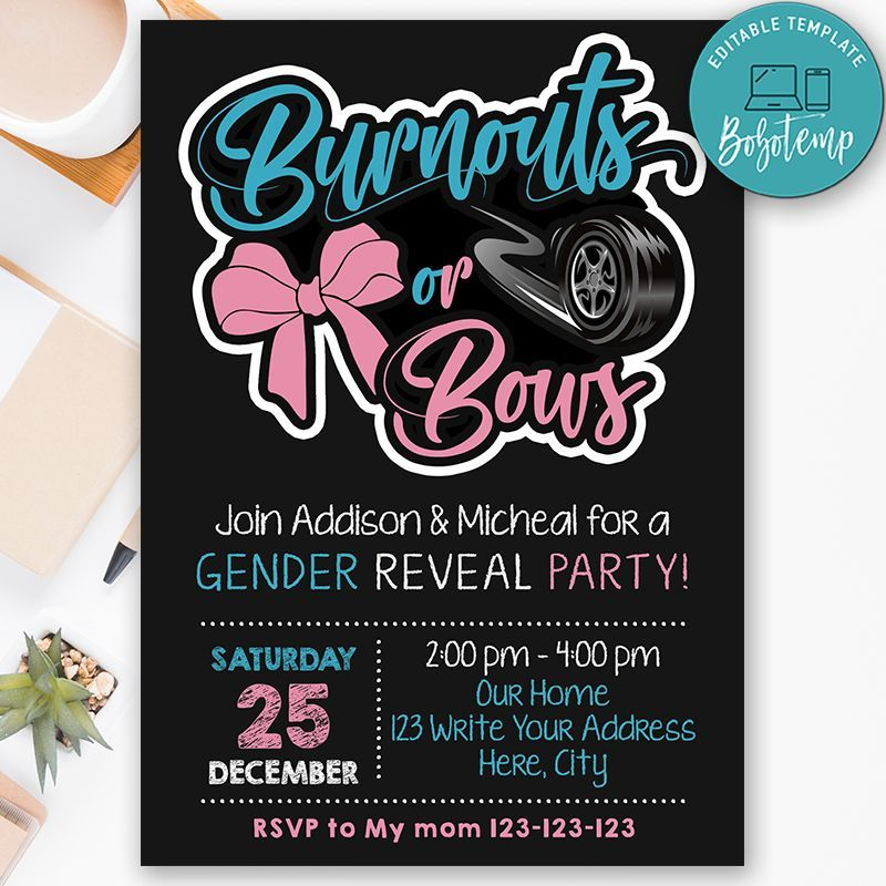 Printable Burnouts Or Bows Gender Reveal Invitation Diy Bobotemp Gender Reveal Invitations Diy Gender Reveal Baby Shower Invitations Bow Gender Reveal
