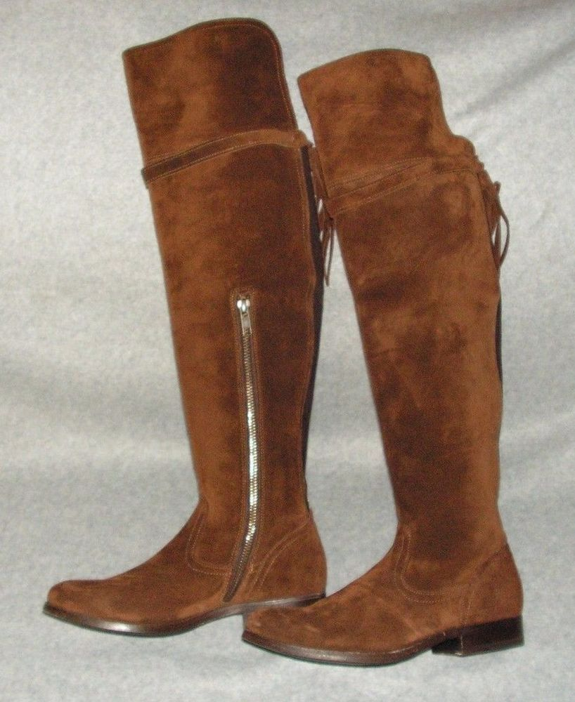 39958d4b94e Frye Womens Clara Tassel Over The Knee Suede Leather Boots size 6 B   fashion