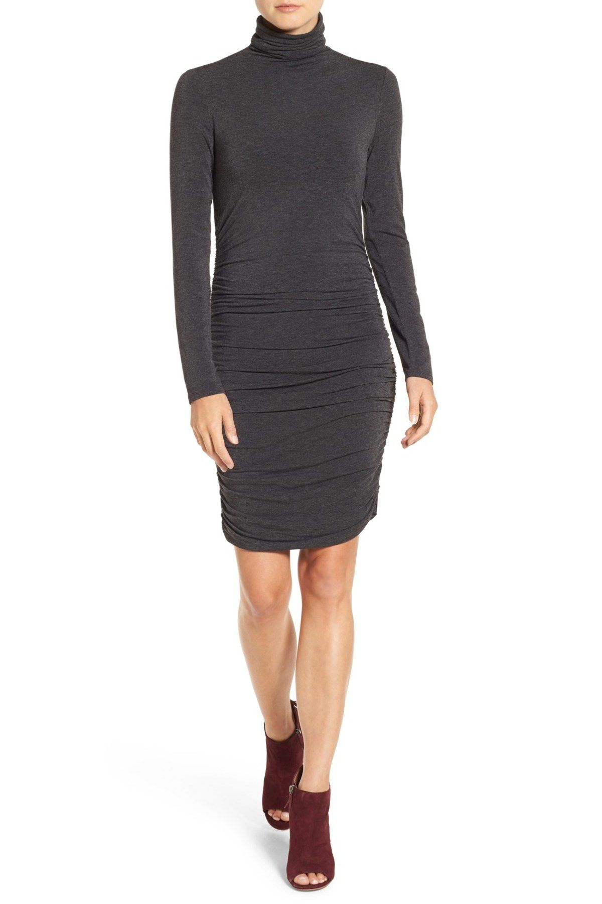 Side Ruched Turtleneck Dress