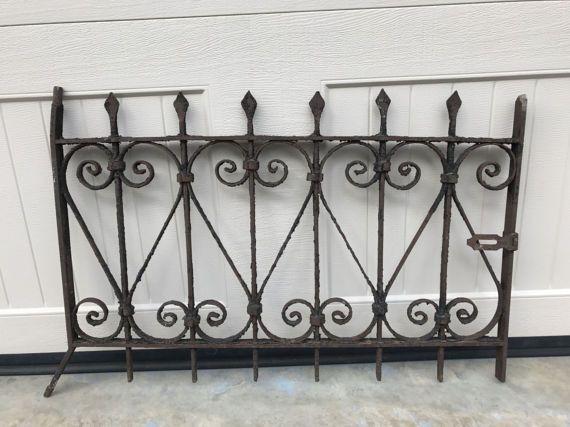 Vintage Wrought Iron Gate Antique Window Gate Garden Decor Architectural Salvage Wrought Iron Gate Antique Windows Iron Gate