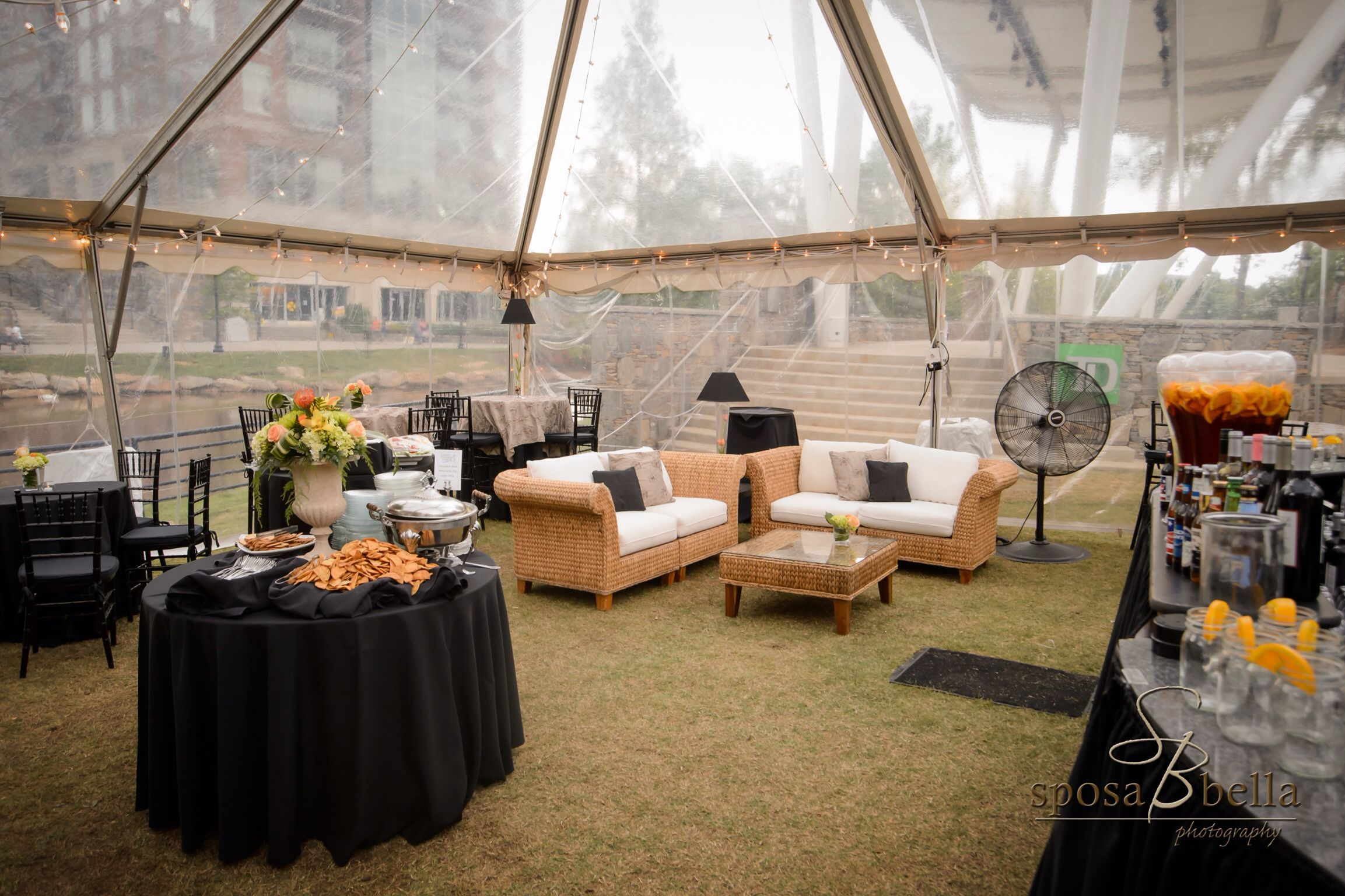 Stone And Oranges Wedding Clear Tent With Lounge