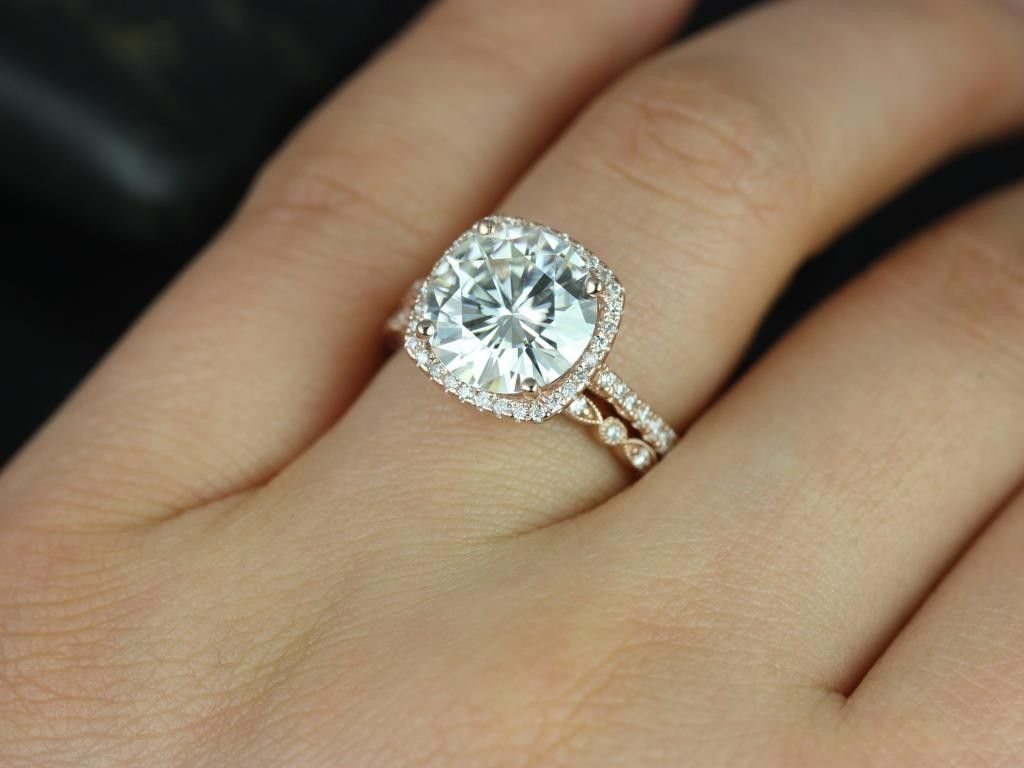 Lovely Rose Gold Cushion Cut Engagement Rings #15 - Halo ...