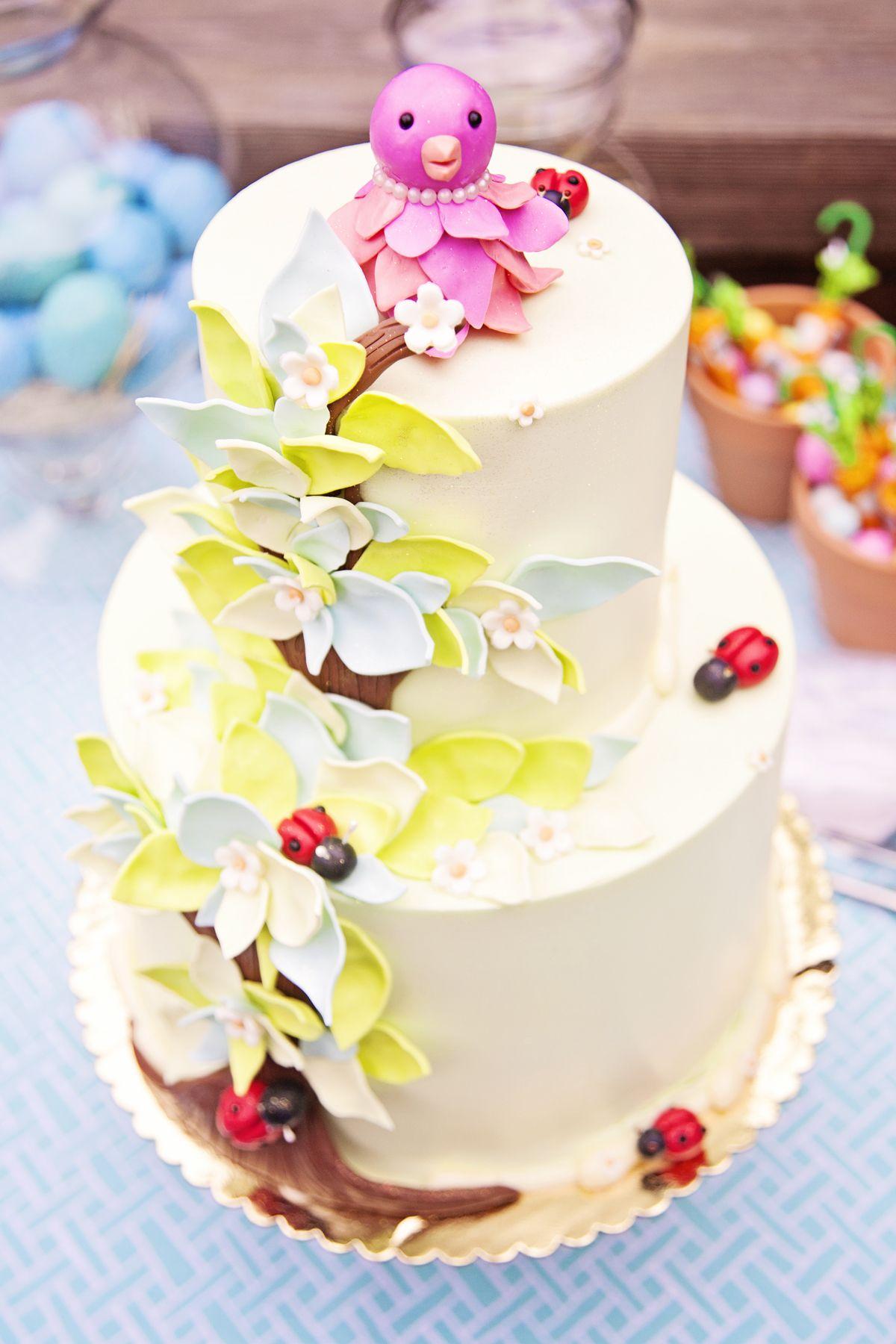 Excellent Pretty Spring Birdie Birthday Cake Fab Cakes San Diego Cake Funny Birthday Cards Online Elaedamsfinfo