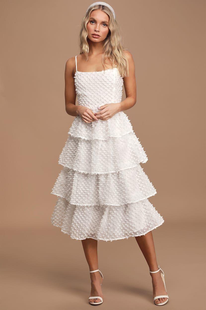 Flirting With You White Tiered Pom Pom Midi Dress Dresses Midi Ruffle Dress White Tiered Dress [ 1245 x 830 Pixel ]