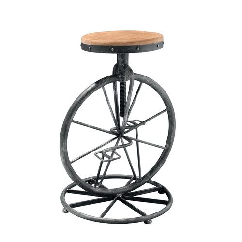 Raylene Bicycle Wheel Adjustable Height Bar Stool