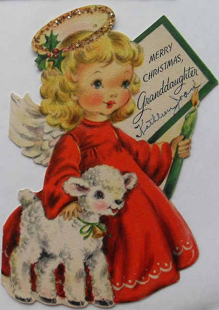 1950s Christmas Card Vintage Greeting Illustration Angel And Lamb With Glitter Halo By Christian Montone Via Flickr