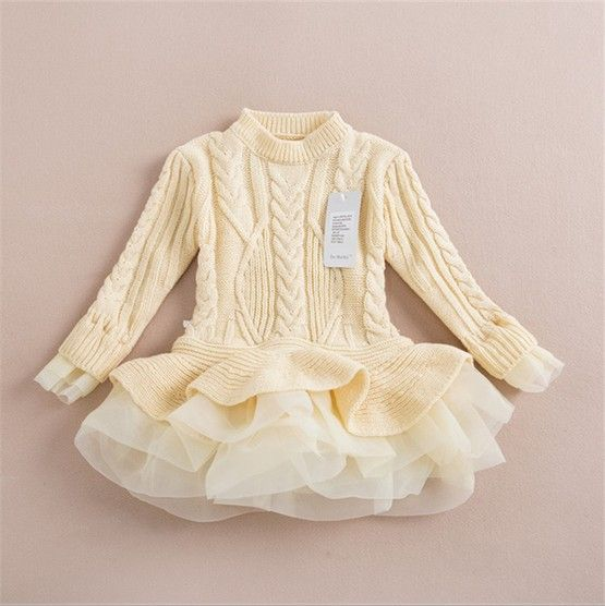92d5adf3628 Knitted Sweater Dress Pullovers sweaters with lace shrugs dresses crochet  long free shipping 2014 Autumn Wholesale kids-in Sweaters from Apparel ...