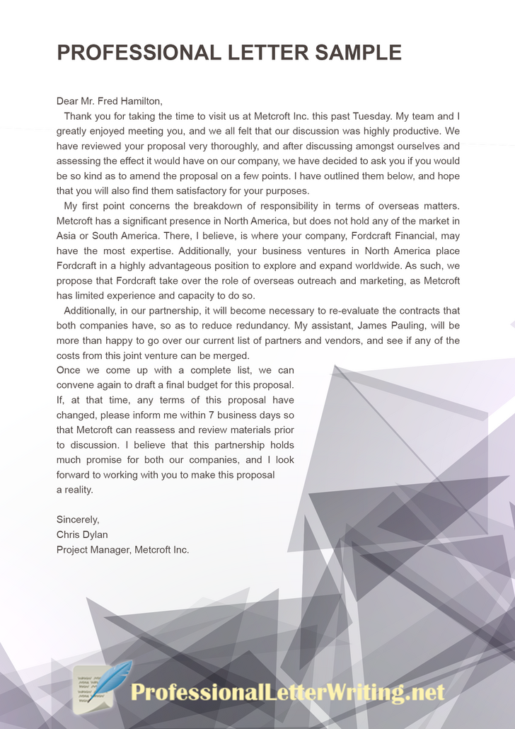 professional letter sample that will help you become a better writer