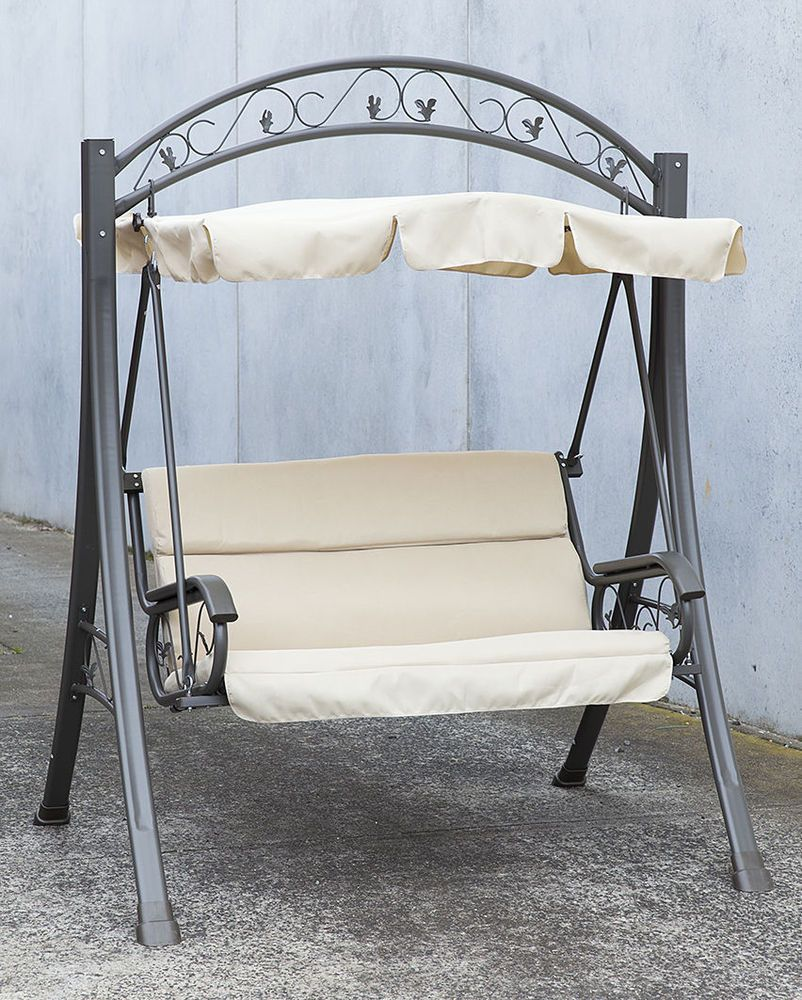 Details About Outdoor Swing Chair Canopy Hanging Chair Garden Bench Seat Steel Frame Cushion Metallicheskaya Mebel Dachnaya Mebel Sadovye Kacheli