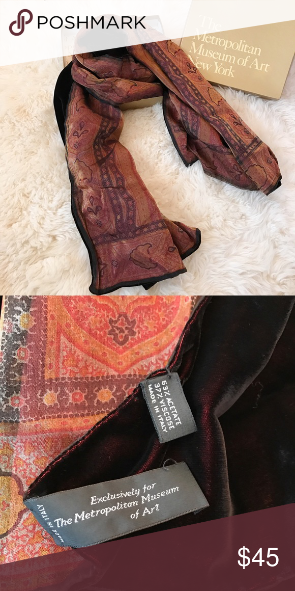 MoMA Reversible Scarf Deep, dark velvety red on one side and silky print on the other. This scarf comes with the original box from the Museum of Modern Art. Gorgeous! 😍 Museum of Modern Art Accessories Scarves & Wraps