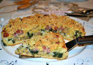 Sbriciolata salata cicoria, funghi, gorgonzola