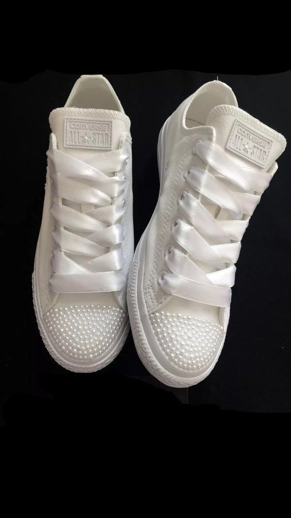Womens Converse All Star Mono White Pearls Sneakers Shoes wedding Bride