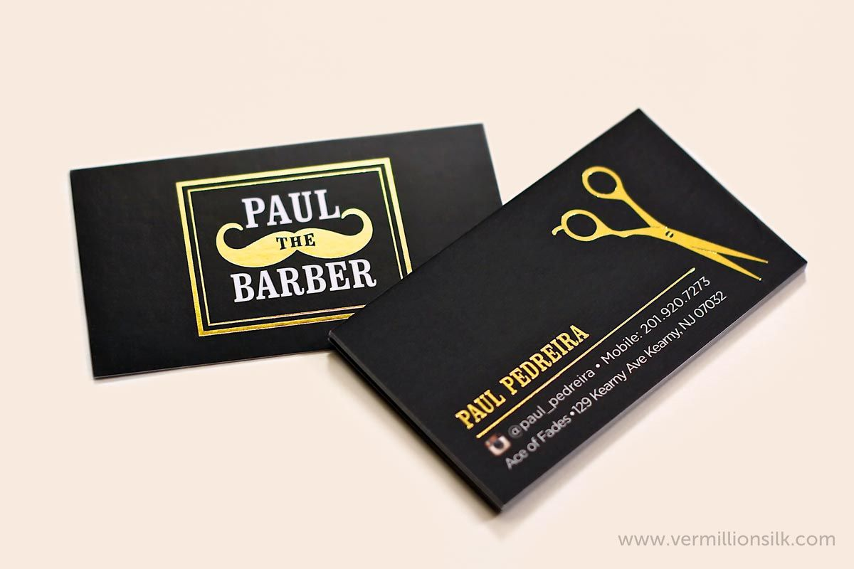 Gold Foil Stamping Over A Black Silk Laminated Business Card Creates A Uniq Barber Business Cards Unique Business Cards Inspiration Foil Stamped Business Cards