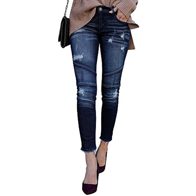 Women Distressed Low Waist Frayed Ripped Slim Skinny Jeans Trouser Legging Pants