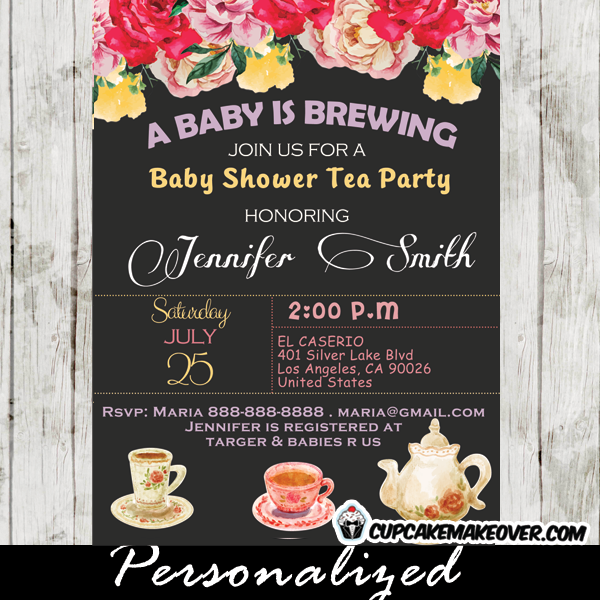 vintage floral baby shower tea party invitation