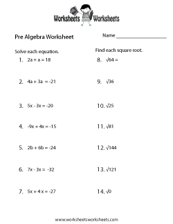 Pre Algebra Practice Worksheet Pre Algebra Worksheets Algebra Worksheets Math Worksheets
