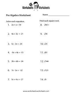 Pre-Algebra Practice Worksheet | My Creative Math Muscle | Pinterest ...