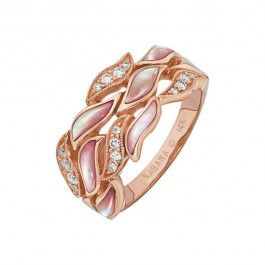 Kabana Pink Mother of Pearl Diamond Ring in 14k Rose Gold 19 ctw