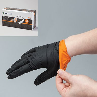 Black Fire Nitrile Exam Gloves Breach Detection Instantly