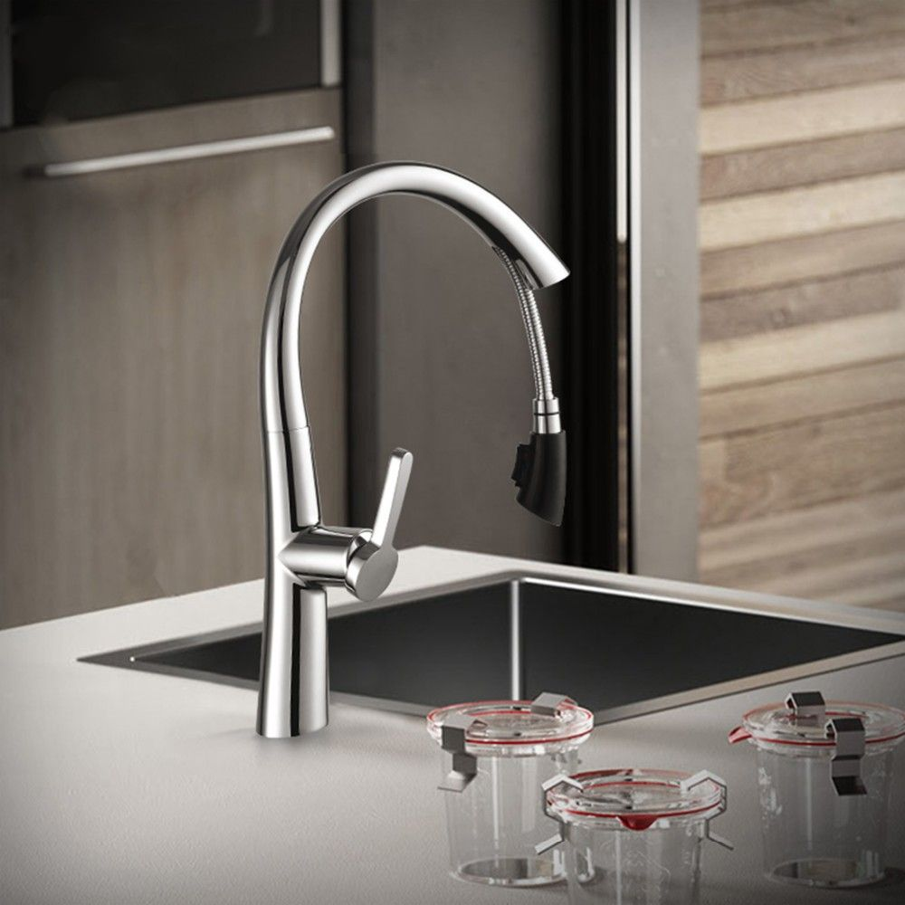 Fapully Chrome Kitchen Faucet Mixer Pull Out Spray Kitchen Mixer ...