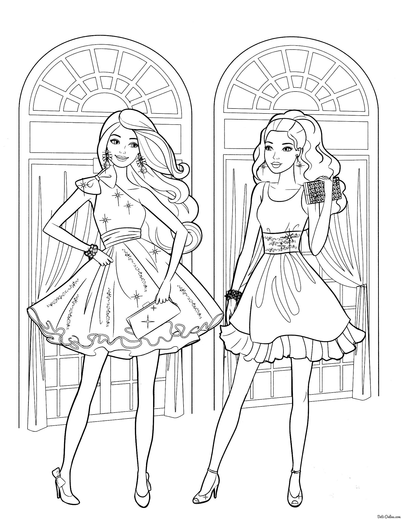 Раскраска Барби с подругой