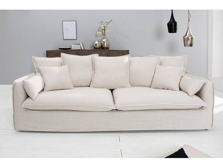 Grosses 3er Sofa Heaven 215cm Natur Leinenstoff Abnehmbarer Bezug Husse Couch Design Interior Sofa