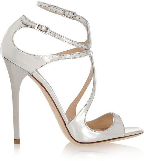 $850, Silver Leather Heeled Sandals: Jimmy Choo Lance Metallic Leather Sandals. Sold by NET-A-PORTER.COM. #metallicleather