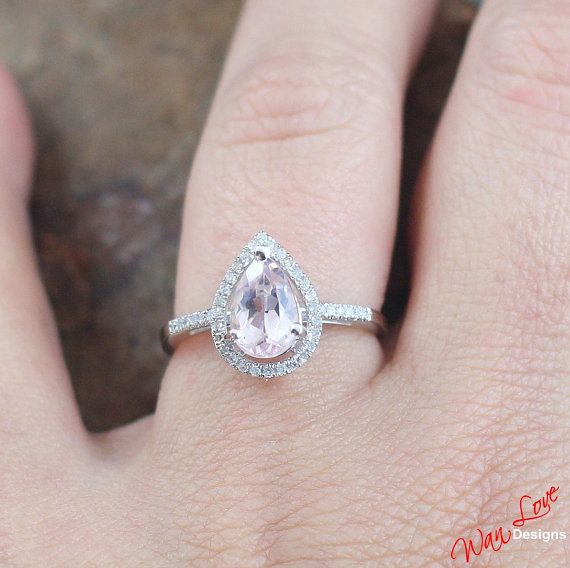 Dress ring: Morganite & Diamond Pear halo ring 1.2 ct white by WanLoveDesigns
