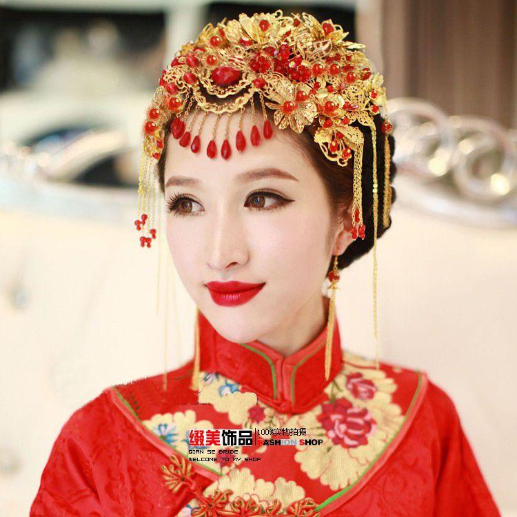 Cheap Adornos antiguos tocado de la novia chino vintage pan stick ... 7c08ca3eb6d