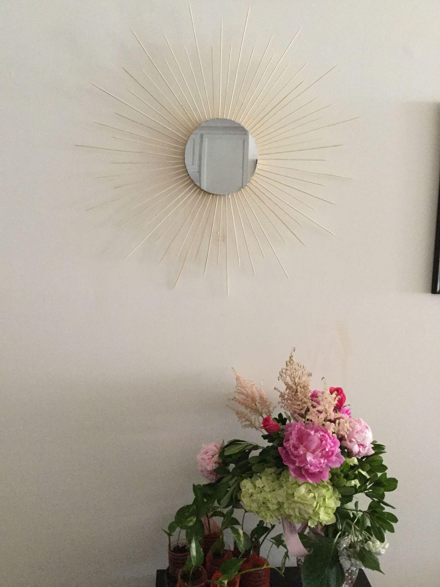 #diy #decor #sunburst #mirror #bamboo sticks  #cardboard #glue