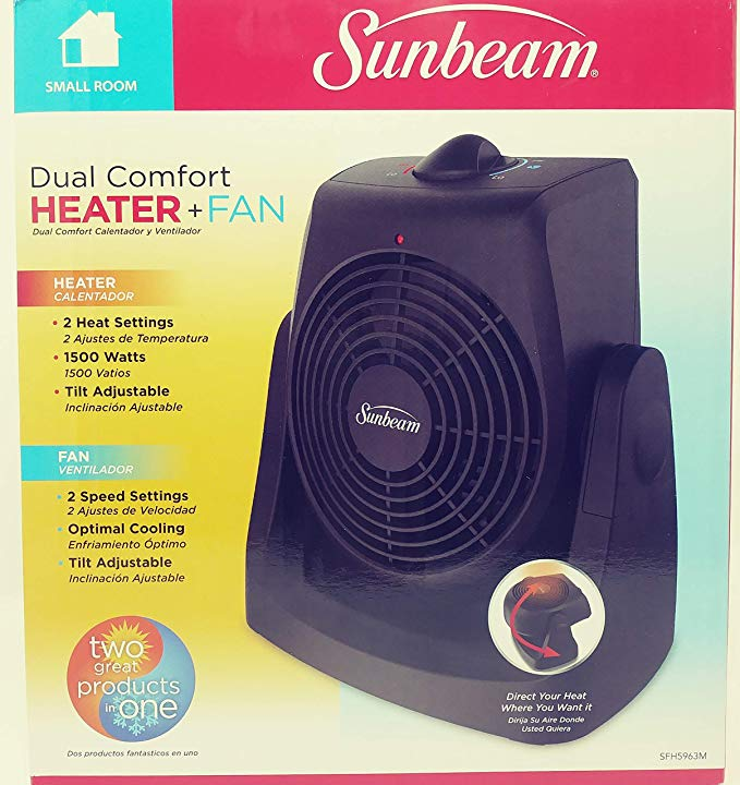 Amazon Com Sunbeam Dual Comfort Heater And Fan Black Home Kitchen With Images Heater Heater Fan Sunbeam