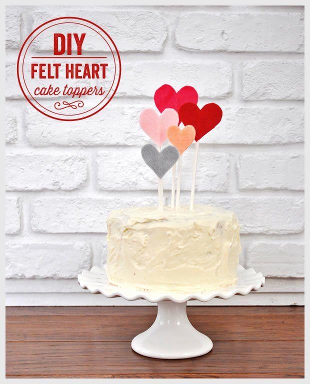 Diy Felt Heart Cake Toppers Everything Valentines Pinterest